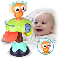 Kidpal Suction Toys for High Chair Sit and Spin Rattles for Babies 6-12 Months