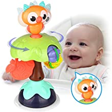Kidpal Suction Toys for High Chair Sit and Spin Rattles for Babies 6-12 Months, Baby Infant Developmental Toys for 6 7 8 9 10 11 12 Months, Sensory Toys for Baby Newborn Gifts fo rBoys and Girls