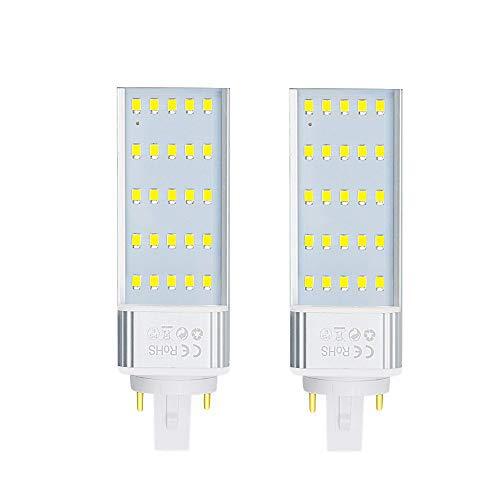 Luxvista G24 7W 2 Pins Bombilla de Maíz PL LED, 2x Lámpara Fluorescente G24 de Enchufe Horizontal 2P LED de Pera CFL, Introdujo iluminación para KTV/Bar/Habitación/Hotel (Blanco Frío 6000K)