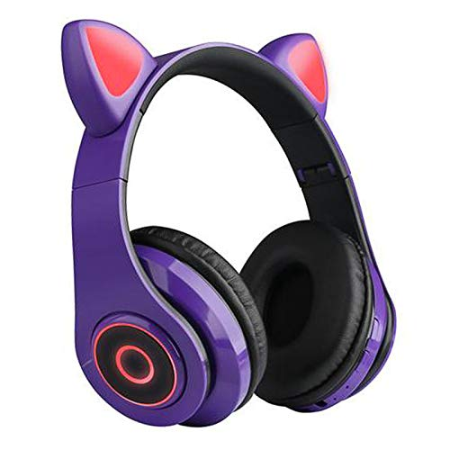 GUANGE Wireless Bluetooth 5.0 Gaming Headset with Mic, Led Light Up Bluetooth Cat Headset, Cat Ear Gaming Headset, Cat Ear Headset for iPhone/iPad/Smartphones/Laptop/PC, Purple
