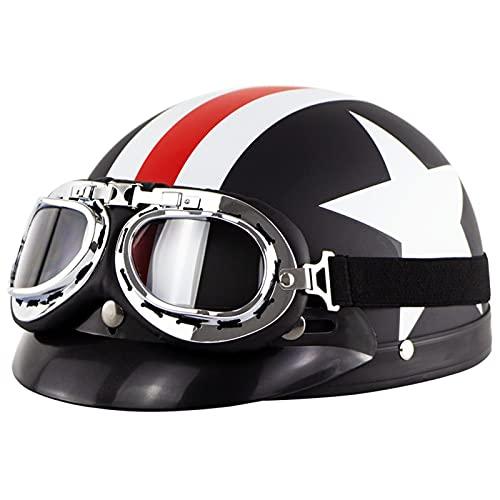 Adultos CascosAbiertosDeMoto RetroJetHalf-Helmet con Gafas Visor Casco De Motociclista ECE Homologado para Hombres/Mujeres MedioCasco para Electrico Scooter Touring Cross Patinete 4