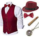 BABEYOND 1920s Mens Gatsby Gangster Vest Costume Accessories Set Manhattan Fedora Hat Bowt...