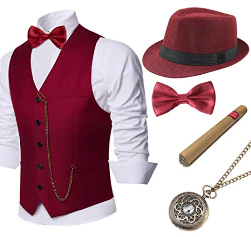 BABEYOND 1920s Mens Gatsby Gangster Vest Costume Accessories Set Fedora Hat (Wine Red, X-Large)