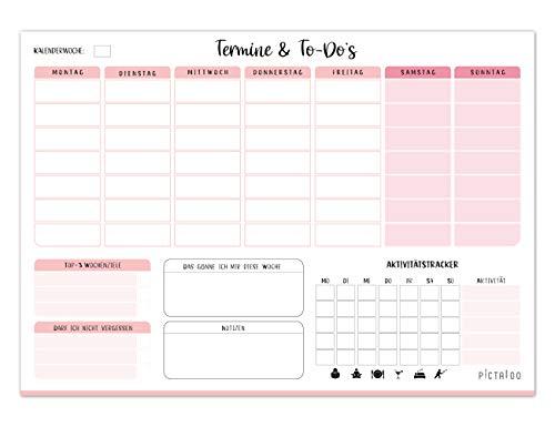Wochenplaner Block 50 Blatt inkl. Aktivitätstracker, Wochenzielen und Notizen, ohne Datum, praktischer Terminplaner und To-Do-Liste, Tagesplaner, DIN A4 (rosa)