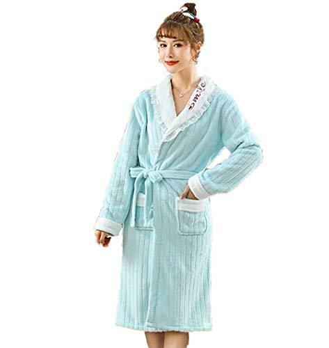 Albornoz de felpa gruesa y mullida, albornoz, coral Velvet Home Wear, pijama cálido y grueso azul L