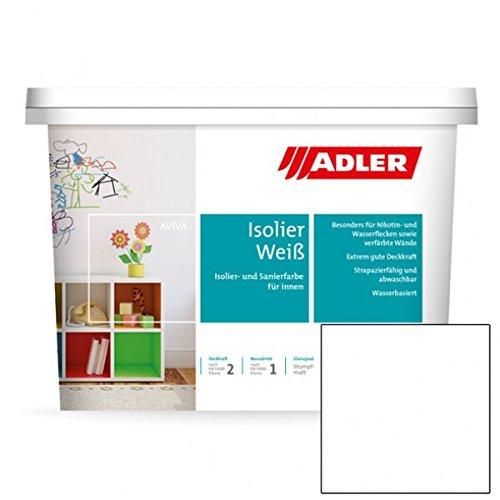 Aviva Isolier-Weiß 1L, Nikotinfarbe und Renovierfarbe, hochwertige Wandfarbe weiss gegen Flecken mit hoher Deckkraft