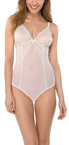 Gilligan & O'Malley Women's Lace Teddy Lingerie, White, M