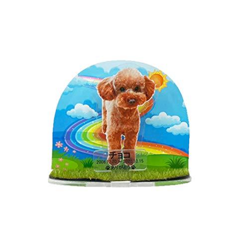 ペット位牌 組み立て式 アクリルスタンド フルカラープリント 写真入り レインボー かわいい ペット仏具 (レインボー(芝付き))