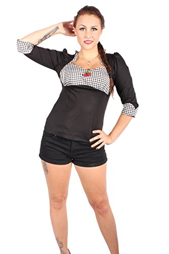 GINGHAM Ruffle Rockabilly pin up Karo Rüschen Kirsche Bluse - 4