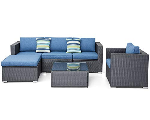 SOLAURA Outdoor Furniture Set 6-Piece Wicker Furniture Modular Sectional Sofa Set Grey Wicker Fiber Soft Denim Blue Cushions with Glass Coffee Table
