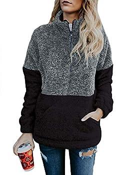MEROKEETY Women s Long Sleeve Contrast Color Zipper Sherpa Pile Pullover Tops Fleece Sweatshirt