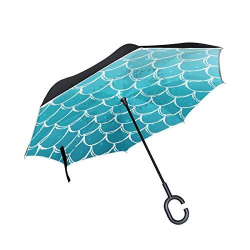 Rode paraplu, omgekeerd, zon, regen, ladder, zeemeermin, omkeerbaar, voor auto, gebruik buitenshuis met handgreep in C-vorm.