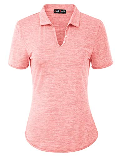 Golf Polo Shirt for Women Breathable Collared Tennis Active Tops(S, Light Pink)