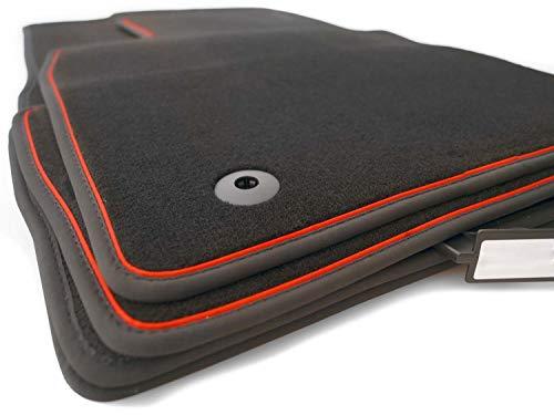 kh Teile Fußmatten passgenau für Polo 5 V 6R 6C Premium Qualität Velours Autoteppich 4-teilig schwarz Zierband Rot