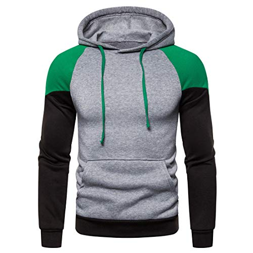 Hoodie Men Casual Fashion Loose Hoodie High Collar Patchwork Outdoor Sports Fitness Sweatshirt All-Match Kangaroo Pocket Drawstring Hoodie M