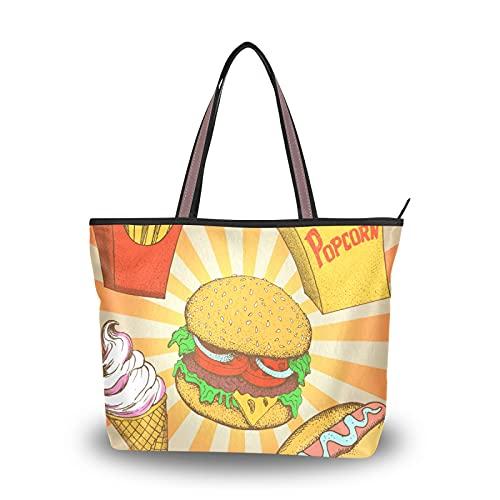 NaiiaN Bolsos ligeros con correa para madres, mujeres, niñas, señoras, estudiantes, bolsos de hombro, bolso de mano, monedero, palomitas de maíz, hamburguesas, papas fritas, perrito caliente, helado