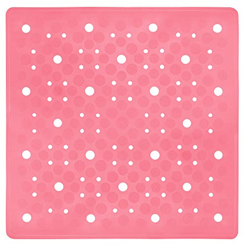 Lashuma Hochwertige Duschrutschmatte Sissi Nelken Rosa, Format: 53x53 cm, Quadratische Kautschuk Matte für Dusche