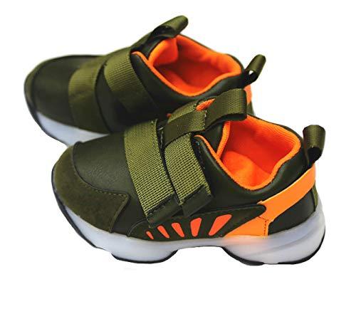 Buty sportowe dla chłopców świecące czarne i czerwone jasne kolory dziecięce buty LED, - Pomarańczowy szary - 24 EU