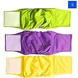 Urijk Lot de 3 Couches pour Chien Lavable Durable Réutilisable Soft et Bonne Absorbant pour Les Animaux Mâles et Femelles, Chien de Taille Grande Moyenne Petite, Tailles XS S M L (Vert+Jaune+Violet)