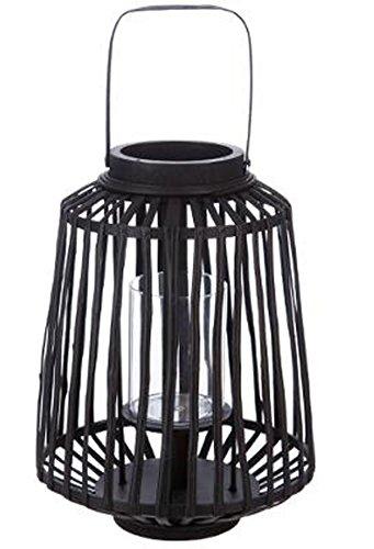 PEGANE Lanterne à Suspendre en rotin et Verre, Coloris Noir - Dim : D 25 x H 35 cm