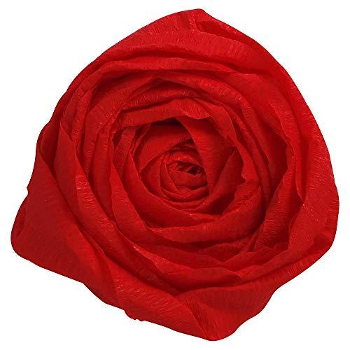 Clairefontaine 903006C - Un paquet de 10 feuilles de crépon supérieur 2,50x0,50m, crépâge 60 %, Rouge