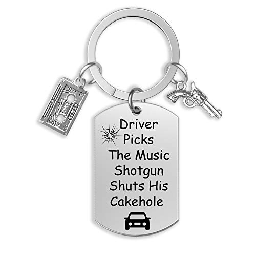 Supernatural Keychain Driver Picks A Music Shotgun Shuts His Cake Hole Inspired Jewelry SPN Jewelry(KR-Driver)
