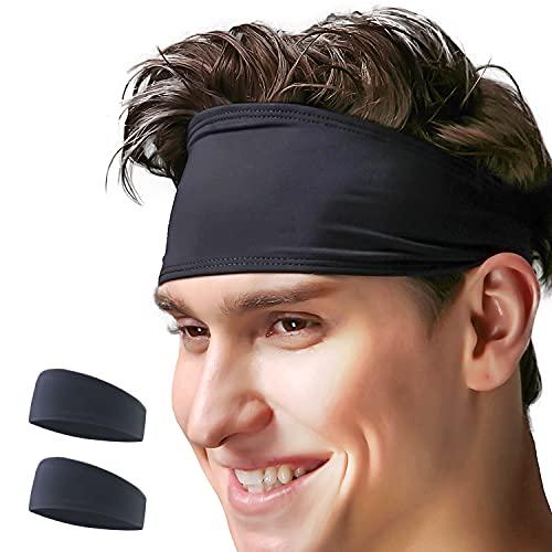 VIMOV 2 Pack Bandeaux Homme - Noir Bande de Sport Sweatband pour Course, vélo, Yoga, Basket-Ball - élastique humidité Wicking Hairband