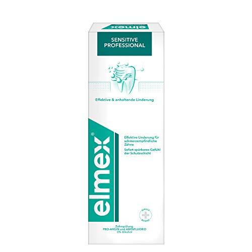 elmex Zahnspülung Sensitive Professional, 400 ml - Mundspülung zur effektiven Linderung für schmerzempfindliche Zähne, mit angenehmen Geschmack, ohne Alkohol