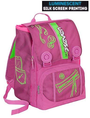 Zaino scuola SEVEN - COLORFUL GIRL - Rosa Verde - estensibile - SERIGRAFIA FOTOLUMINESCENTE - 28 LT - elementari e medie inserti rifrangenti