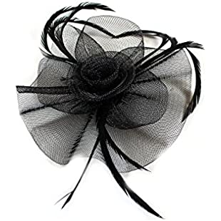 Ladies New Elegant Looped Net with Centre Swirl Fascinator on a Clip and Brooch Pin (BLACK)