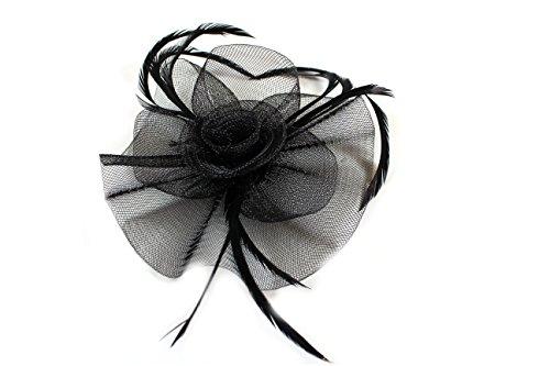 Black Looped Net And Feather Hair Fascinator Beak Clip Brooch Pin