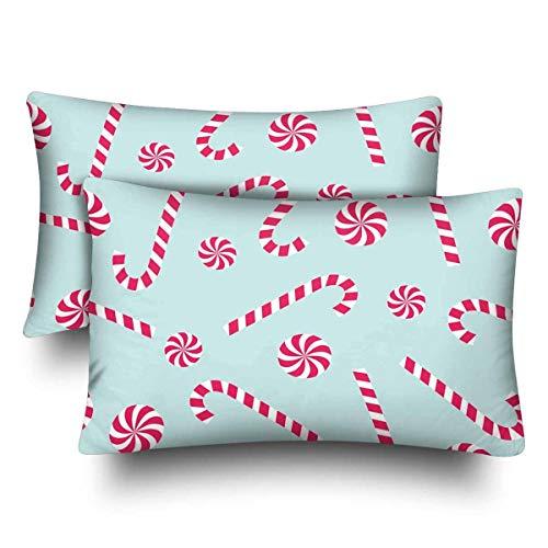 Set di 2 federe per cuscino con canna di zucchero lecca lecca-lecca di nuovo anno Merry Christmas Winter 20 x 30 cm, rettangolari per casa, divano, camera da letto decorazione