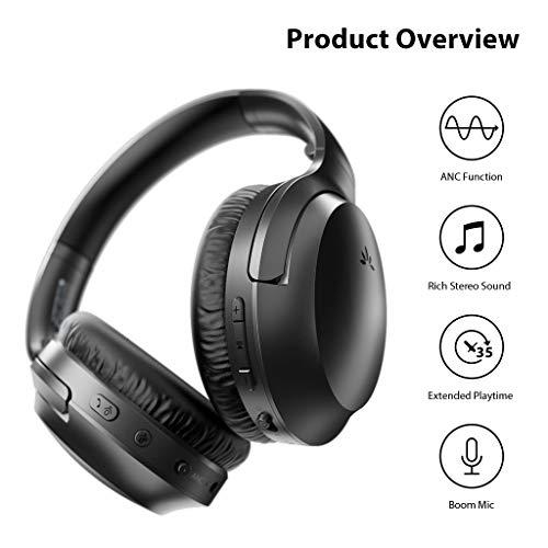 Avantree Aria Auriculares Bluetooth de Cancelación de Ruido Activo con Micrófono Extra Desmontable para Llamadas, Buen Sonido, Almohadillas Anchas Reemplazables, 35H, Cableado e Inalámbrico ANC