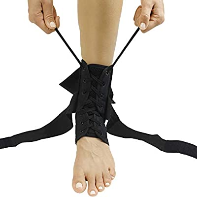 Vive Lace Up Ankle Brace - Men, Women Foot Support Stabilizer Compression Sleeve - Sprained Adjustable Leg Splint - Sprain Rolled Immobilizer Wrap Guard for Running, Volleyball, Basketball, Soccer (L)