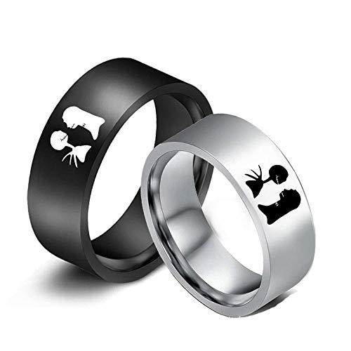 MMYY La pesadilla antes de Navidad anillo Jack y Sally anillo para las mujeres pareja titanio anillos encanto joyería accesorios regalo-2pcs_7