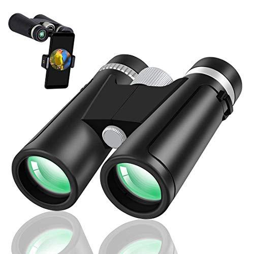 YANGHAO-Telescopio de alta definición y alta poten Binoculares de alta potencia, binoculares de alta definición 12x42 binoculares impermeables para la caza de turismo Viendo fauna viendo aves observac
