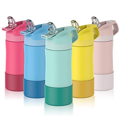FJbottle Botella de Agua con Pajita Acero Inoxidable 400ml, Aislamiento de Vacío de Doble Pared, Botellas de Frío/Caliente, sin bpa Botella Reutilizable