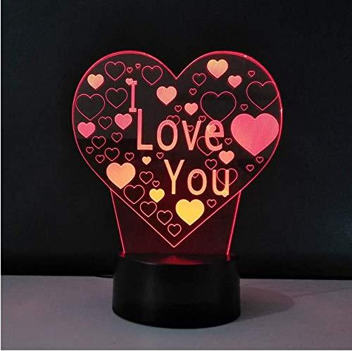 Saint Valentin 3D Led Lumière Vd Cadeau Creative Table Lampe Art Sculpture Nuit Lumière Smart Touch Bouton Luminaire De Mesa lampes
