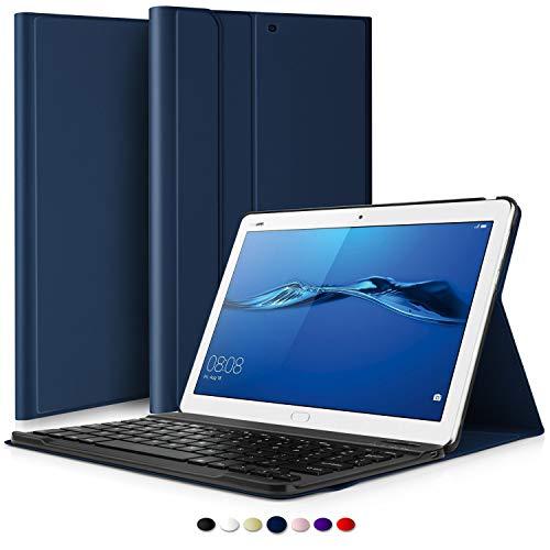 KILISON Huawei Mediapad T5 10 Tastiera Custodia Cover, Slim Pelle PU Custodia Case [QWERTY Layout] con Rimovibile Wireless Keyboard Tastiera per Huawei Mediapad T5 10.1 Pollici-Blu