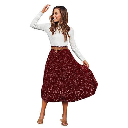 Cikuso Falda Midi Plisada de Lunares de Cintura Alta de Mujer Faldas de Estampado de Cintura Elástica de Las Se?oras Faldas de Gran Columpio Vintage Boho de Playa Rojo S