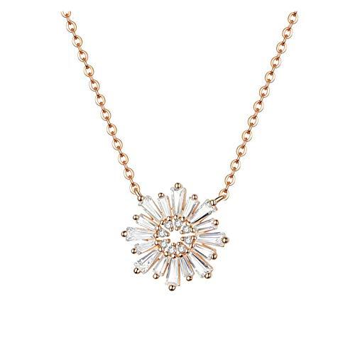HMMJ Collar de Mujer, S925 Sterling Silver Rose Chapado en Oro Girasol Colgante Cadena de clavícula