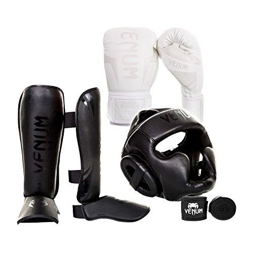 Venum Elite Challenger 2.0 Boxing Gloves Kit - White/White Gloves, Black/Black Shinguards,...
