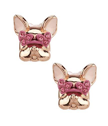 Kate Spade New York Francois French Bulldog Earrings Rose Gold Multi