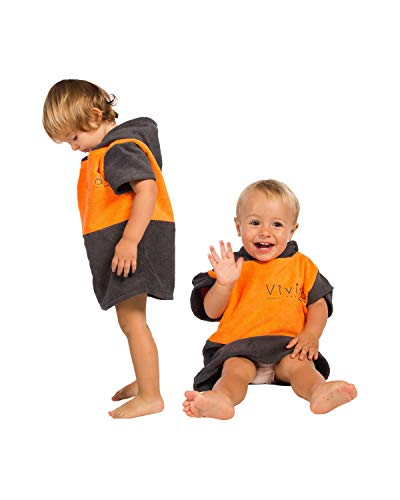 Vivida Lifestyle - Poncho con Capucha y Toalla Cambiadora para Playa, Surf y Natación, Small (Baby-Toddler) (Naranja-Gris)