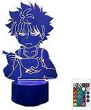 GEZHF Anime Hunter X Hunter Luz nocturna – Lámpara de ilusión óptica 3D para habitación de niños Cortion LED Cambio de color Luz nocturna Anime Regalo -16 colores con orden