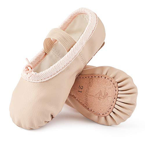 Ballet Shoes Leather Ballet Flats Full Sole Dance Slippers for Girls Toddlers Women Beige 8 UK Child