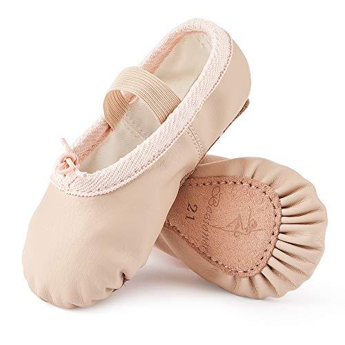 Ballettschuhe aus Leder Ballettschläppchen Tanzschuhe Gymnastikschuh mit Ganze Ledersohle für Kinder Damen Beige 27