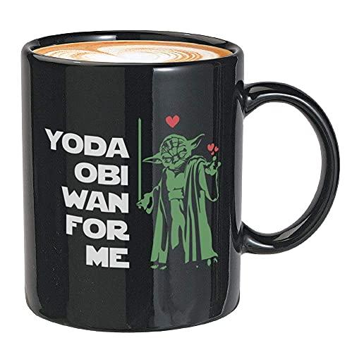 N\A Taza de café de película 11 oz Negro para mí sabrs Battle Fighter Cineasta Creador Youda OBI WAN Chewbacca Luke