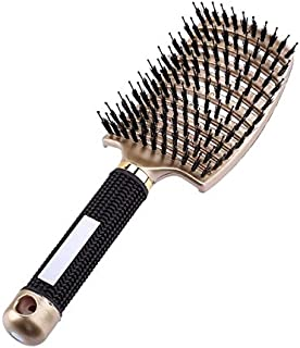 8-Color Massage Comb, Hair Scalp Massage Comb, Nylon Comb Wet Curling Hair Comb Hairdressing Tools (Color : Gold)