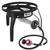 ROVSUN Propane Burners Outdoor Cooking Stove 200,000 BTU Output, High Pressure Single Wok Gas Cooker for Camping Tailgating Picnic Home Brewing, 0-20 PSI Adjustable Regulator